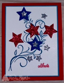 7-1-16 Falling Flowers 4th of July card