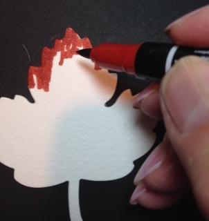 10-18-16 turkey tiny treat box - begin coloring with marker