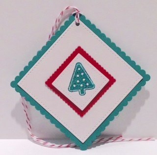 Square Stitched Christmas Tree Tag