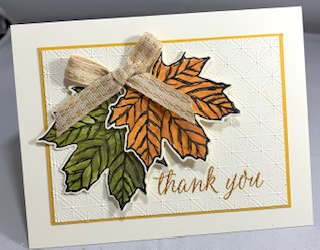 Tinted shimmer paint - champagne leaves card