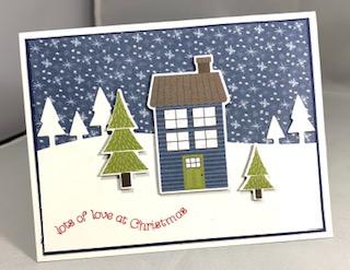 Blue house card