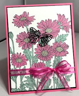 Daisy garden - polished pink card